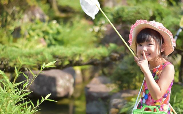 自然の中で虫捕りをする女の子